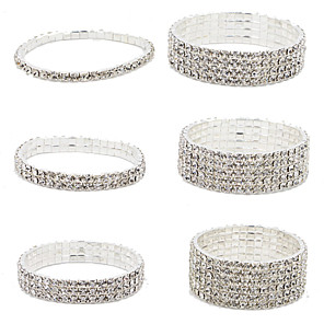 cheap Bracelets-Women's Crystal Chain Bracelet Cuff Bracelet Tennis Bracelet Tennis Chain Cheap Ladies Fashion Italian Iced Out Silver Plated Bracelet Jewelry 4# / 5# / 6# For Christmas Gifts Wedding Party Daily