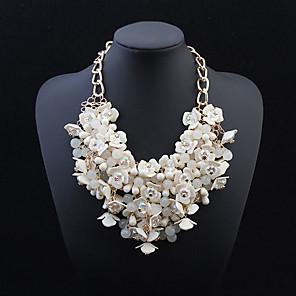 cheap Necklaces-Statement Necklace Flower Statement European Resin Alloy White Necklace Jewelry For Wedding Party Special Occasion Anniversary Birthday Gift
