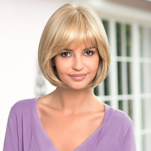 cheap Human Hair Capless Wigs-Human Hair Wig Straight Short Hairstyles 2020 Straight Capless Dark Brown / Dark Auburn Beige Blonde / Bleach Blonde Auburn Brown / Bleach Blonde