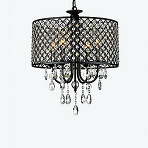 "cheap Candle-Style Design-QINGMING® 4-Light 40(16"") Crystal Chandelier Drum Chrome Modern Contemporary 110V / 110-120V / 220-240V"