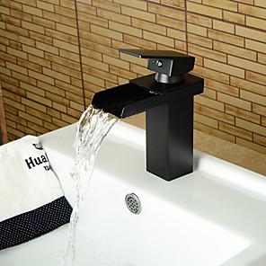 cheap Bathroom Sink Faucets-Black Bathroom Sink Faucet - Waterfall Widespread Centerset Single Handle One HoleBath Taps