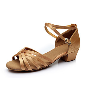 cheap Latin Shoes-Women's Dance Shoes Satin Latin Shoes Ribbon Tie Sandal / Heel / Sneaker Chunky Heel Customizable Silver / Brown / Gold / Indoor / Performance / Practice / Professional / EU39