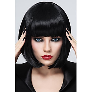 cheap Synthetic Trendy Wigs-Synthetic Wig Straight Straight Bob With Bangs Wig Short Synthetic Hair Women's Black