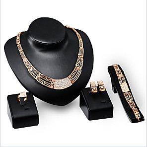 cheap Jewelry Sets-Synthetic Diamond Jewelry Set Stud Earrings Choker Necklace Tennis Chain Statement Ladies Vintage Party Work Link / Chain 18K Gold Plated Cubic Zirconia Rhinestone Earrings Jewelry Rose Gold For 1 set