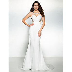 cheap Evening Dresses-Mermaid / Trumpet Cut Out Beautiful Back Minimalist Holiday Cocktail Party Formal Evening Dress Scoop Neck Sleeveless Court Train Chiffon with Beading 2020 / Keyhole