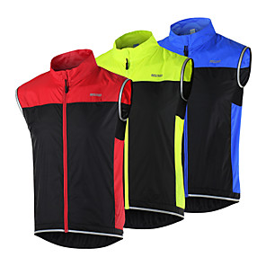 cheap Cycling Jersey & Shorts / Pants Sets-Arsuxeo Men's Cycling Vest Bike Vest / Gilet Jacket Windbreaker Windproof Breathable Quick Dry Sports Patchwork Black / Red / Black / Green / Black / Blue Mountain Bike MTB Road Bike Cycling Clothing