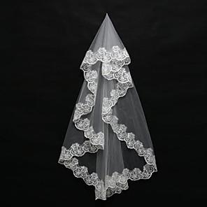 cheap Wedding Veils-One-tier Lace Applique Edge Wedding Veil Blusher Veils / Shoulder Veils / Elbow Veils with Appliques Tulle / Mantilla