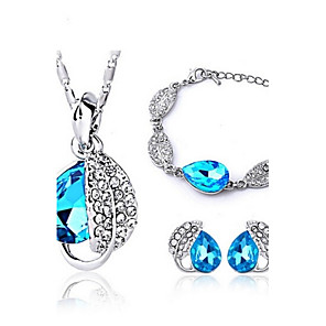 cheap Jewelry Sets-Crystal Jewelry Set Ladies Party Work Casual Earrings Jewelry Fuchsia / Light Blue / Light Green For / Necklace