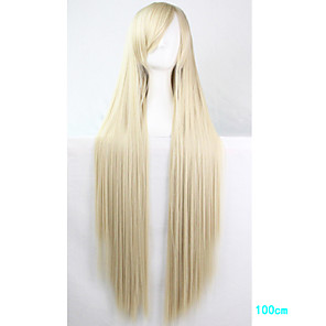 cheap Costume Wigs-Cosplay Costume Wig Synthetic Wig Cosplay Wig Straight Straight With Bangs Monofilament L Part Wig Blonde Long Blonde Synthetic Hair Women's Side Part Blonde