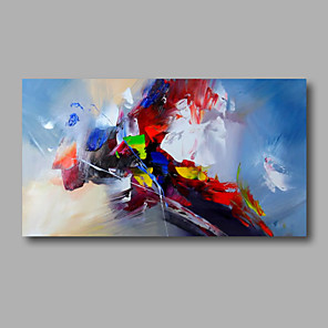 cheap Abstract Paintings-Oil Painting Hand Painted Abstract Modern Stretched Canvas / Rolled Canvas With Stretched Frame or Rolled Without Frame