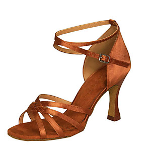 cheap Latin Shoes-Women's Dance Shoes Satin / Leatherette Latin Shoes Buckle Sandal / Heel Chunky Heel Customizable Black / White / Brown / Indoor / Performance / Practice / Professional / EU39