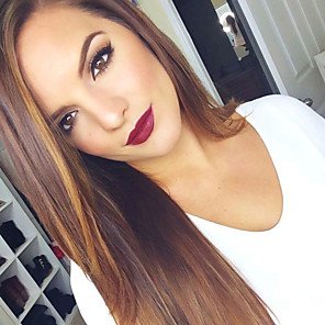cheap Synthetic Trendy Wigs-Human Hair Lace Front Wig style Brazilian Hair Straight Wig 120% 150% 180% Density 18 inch with Baby Hair Ombre Hair Natural Hairline African American Wig 100% Hand Tied Women's Long Human Hair Lace