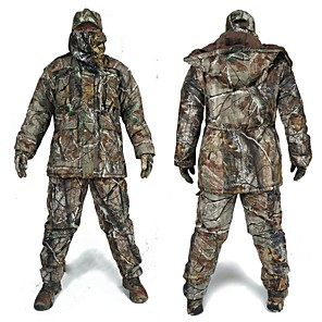 cheap Camping Tools, Carabiners & Ropes-Men's Hunting Jacket with Pants Hunting Suit Camo / Camouflage Winter Outdoor Thermal / Warm Waterproof Windproof Breathable Fleece Elastane Cotton Winter Jacket Hoodie Jacket and Pants Top Camping