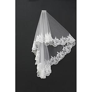 cheap Wedding Veils-Two-tier Lace Applique Edge Wedding Veil Blusher Veils / Shoulder Veils / Fingertip Veils with Appliques Tulle / Drop Veil