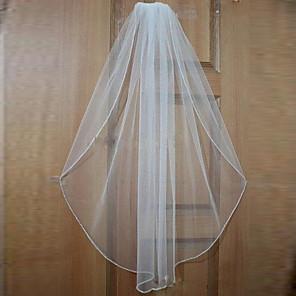 cheap Wedding Veils-One-tier Beaded Edge Wedding Veil Elbow Veils / Fingertip Veils with Beading Tulle / Classic