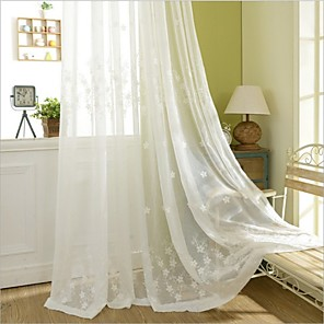 cheap Sheer Curtains-Eco-friendly Curtains Drapes Two Panels / Embroidery / Bedroom