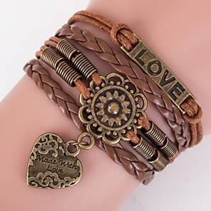 cheap Religious Jewelry-Men's Women's Wrap Bracelet Leather Bracelet Love Ladies Inspirational Leather Bracelet Jewelry Brown For Christmas Gifts Daily Casual Sports