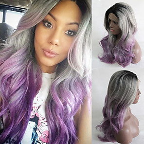 cheap Synthetic Lace Wigs-Synthetic Wig Body Wave Body Wave Lace Front Wig Long Purple Synthetic Hair Purple