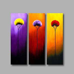 cheap Abstract Paintings-Oil Painting Hand Painted - Floral / Botanical Modern Stretched Canvas / Three Panels