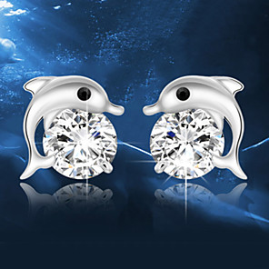 cheap Makeup Brush Sets-Crystal Stud Earrings Dolphin Animal Ladies Fashion Elegant Sterling Silver Crystal Silver Earrings Jewelry Silver For Wedding Party Daily Masquerade Engagement Party Prom
