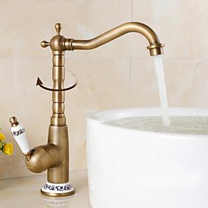 cheap Bathroom Sink Faucets-Victoria  Rotatable / Standard Antique Brass Centerset Single Handle One HoleBath Taps-Bathroom Sink Faucet
