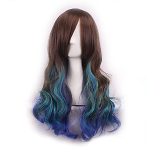 cheap Synthetic Trendy Wigs-Synthetic Wig Curly Body Wave Body Wave Asymmetrical Wig Long Rainbow Synthetic Hair Women's Natural Hairline Brown