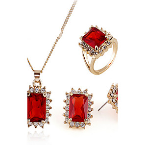 cheap Jewelry Sets-Cubic Zirconia tiny diamond Jewelry Set Stud Earrings Pendant Necklace Emerald Cut Ladies Luxury Vintage Party Work Zircon Cubic Zirconia Earrings Jewelry Gold / Red For Promise 1 set / Promise Ring