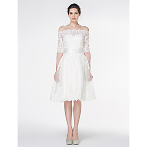 cheap Wedding Party Dresses-A-Line Wedding Dresses Off Shoulder Knee Length Lace 3/4 Length Sleeve Formal Romantic Little White Dress Illusion Sleeve with Lace 2020
