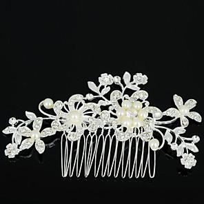 זול תכשיטים לשיער-בגדי ריקוד נשים מסרקי שיער עבור חתונה Party יומי פרח זירקון אבן נוצצת סגסוגת כסף