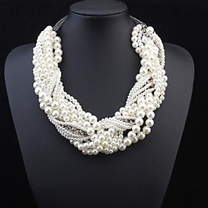 cheap Jewelry Sets-Women's Pearl Statement Necklace Layered Twisted Statement Ladies Luxury Pearl Alloy White Necklace Jewelry For Wedding Party Special Occasion Cosplay Costumes