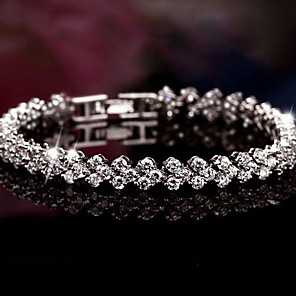 cheap Bracelets-Women's Cubic Zirconia tiny diamond Charm Bracelet Bracelet Bangles Tennis Bracelet Ladies Luxury Bridal Festival / Holiday everyday Sterling Silver Bracelet Jewelry Silver For Christmas Gifts