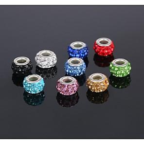 cheap Beads-DIY Jewelry 5 pcs Beads Rhinestone Zinc Alloy Silver Imitation Diamond Round Round Shape Circle Shape Bead 1 cm DIY Necklace Bracelet