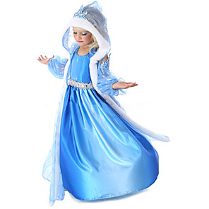 cheap Movie & TV Theme Costumes-Princess Fairytale Elsa Cosplay Costume Flower Girl Dress Girls' Movie Cosplay A-Line Slip Fur Trim Blue Coat Dress Gloves Halloween New Year Chiffon