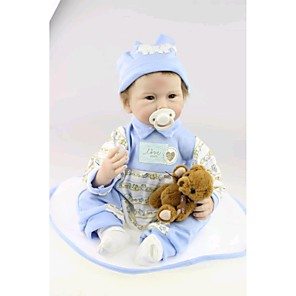 """cheap Reborn Doll-NPK DOLL 22 inch Reborn Doll Baby Reborn Baby Doll Newborn lifelike Cute Hand Made Child Safe Silicone Vinyl 22"""" with Clothes and Accessories for Girls' Birthday and Festival Gifts / Non Toxic"""