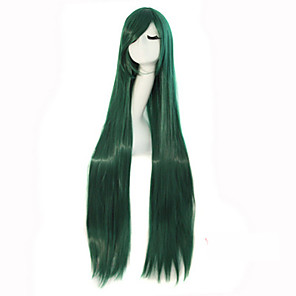 cheap Costume Wigs-cosplay long straight hair high temperature wire dark green synthetic wig hot sale Halloween