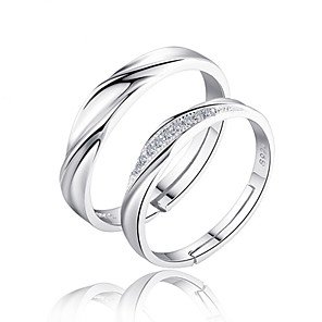 cheap Rings-Couple's Couple Rings Band Ring Cubic Zirconia 2pcs Silver Sterling Silver Zircon Circle Ladies Bridal Wedding Party Jewelry Twisted Love Friendship
