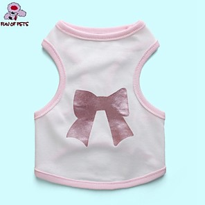 cheap Dog Clothes-Cat Dog Shirt / T-Shirt Dog Clothes White Costume Cotton Bowknot Cosplay Birthday Wedding XS S M L