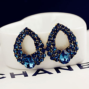 cheap Jewelry Sets-Women's Blue Crystal Stud Earrings Classic Style Classic Theme Elegant & Luxurious Earrings Jewelry Blue For Wedding Party Daily Casual