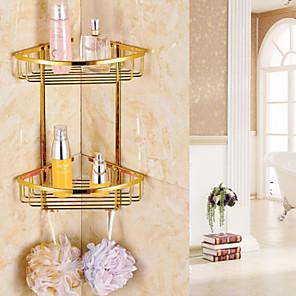 cheap Smart Home-Gold luxurious Bathroom Double-deck Brass Material Triangular Storage Basket