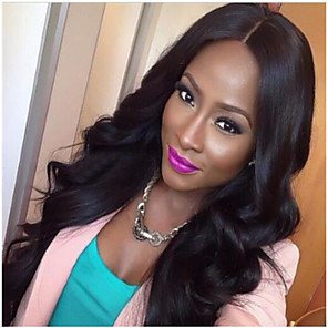 cheap Synthetic Trendy Wigs-Synthetic Wig Wavy Wavy Middle Part Wig Long Natural Black Synthetic Hair Women's Best Quality Natural Color