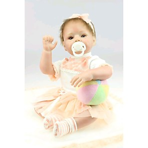 "cheap Reborn Doll-NPK DOLL 22 inch Reborn Doll Baby Reborn Baby Doll Newborn lifelike Cute Hand Made Child Safe Silicone Vinyl 22"" with Clothes and Accessories for Girls' Birthday and Festival Gifts / Non Toxic"