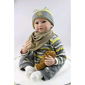 """cheap Reborn Doll-NPK DOLL 22 inch Reborn Doll Baby Reborn Baby Doll Newborn lifelike Cute Hand Made Child Safe 22"""" with Clothes and Accessories for Girls' Birthday and Festival Gifts / Non Toxic / Lovely / Kid's"""