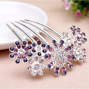 cheap Hair Jewelry-Women's Hair Combs For Wedding Party Daily Floral Theme Flower Rhinestone Alloy Purple Pink Blue