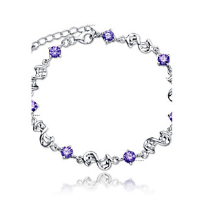 cheap Bracelets-Women's Crystal Amethyst Chain Bracelet Charm Bracelet Ladies Simple Style Fashion Bridal Sterling Silver Bracelet Jewelry White / Purple For Wedding Party Daily Casual