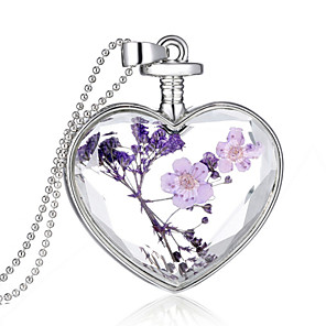 cheap Necklaces-Crystal Pendant Heart Ladies Fashion everyday fancy Sterling Silver Purple Necklace Jewelry For Wedding Party Daily Casual