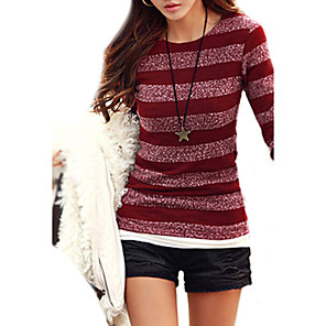 cheap Necklaces-Women's Striped Pullover Cotton Long Sleeve Slim Regular Sweater Cardigans Round Neck Fall Black Red Blue
