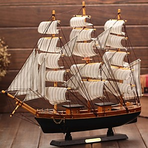 cheap Art Crafts-Props Home Sailing Boat Model Children Mediterranean Style Toys Nautical Decor Wooden Furnishing Gift Bedroom Office Retro