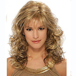 cheap Synthetic Trendy Wigs-Synthetic Wig Curly Curly Wig Blonde Medium Length Synthetic Hair Women's Blonde