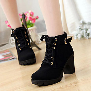 cheap Women's Boots-Women's Boots Block Heel Closed Toe Vintage Daily Buckle Solid Colored Suede Mid-Calf Boots Winter Black / Yellow / Green