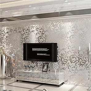 cheap Wall Stickers-Floral Silver White Wallpaper Grey Glitter Victorian Embossed Wall Cover Luxury 100cm*53cm(39''*20'')